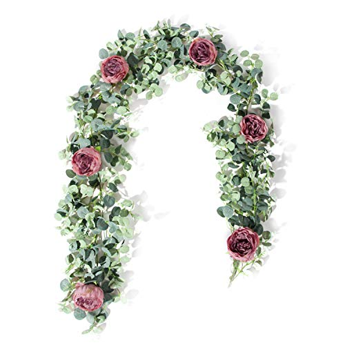 Roses Eucalyptus - TOPHOUSE 6 Ft Artificial Rose Vine Fake Flower Garland Decorations Hanging Eucalyptus Garland with Purple Rose for Wedding Arch Arrangement