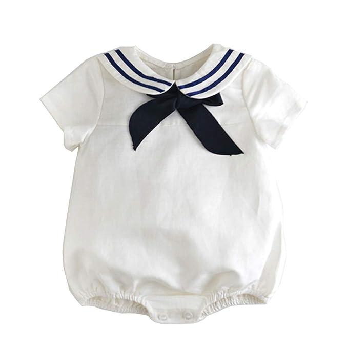 Paisdola Mameluco de manga corta de los bebés Mameluco de lazo azul marino (0-
