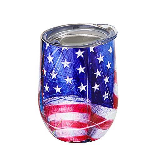 Wine Tumbler Water Glasses with Lid Stars and Stripes 9 oz Stainless Steel BPA Free Double Vacuum Insulated Unbreakable Travel Cup for Coffee, Wine, Cocktails, Ice Cream, Milk - Water Glasses Stripe