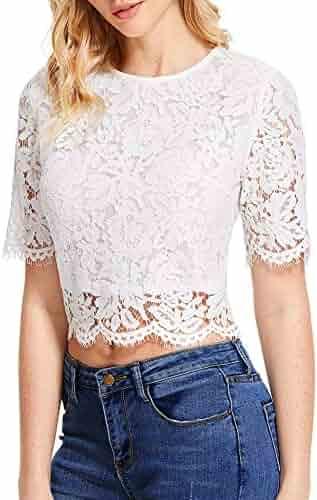 07040cd2a7 Oyamiki Women's Short Sleeve Sexy Sheer Blouse Shirts Mesh Lace Crop Top  (S-XXL