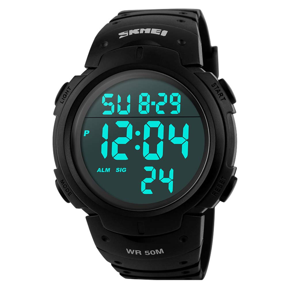 Hombre Militar Digital Deporte Reloj Resistente al agua Fashion muñeca reloj Big Face LED luz de fondo Alarma Cronómetro 50M Agua resistant-black