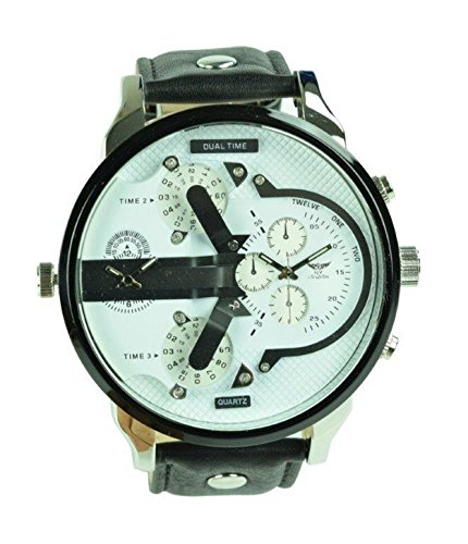 NY London Men's Dual Time White Black Face Black PU Leather Strap Watch Analog Quartz (Band Black Face Metal Zone)