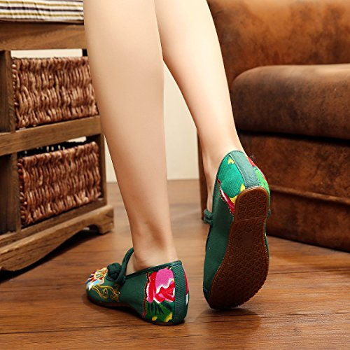 Green Mary Strappy Strap Sko Ankel Leiligheter Kinesiske For Gummisåle Tradisjonelle Yiblbox Cheongsam Broderi Sommer Kjole Jane Kvinners qHYTR