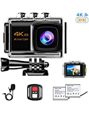 NINE CUBE Action Camera 4K Ultra HD WiFi 20MP, 30M Waterproof Sports Camera, External Mic, 170 ° Wide Angle, 2.0''LCD,2.4G Remote Control, EIS, 2 Rechargeable Batteries and Accessories Kit