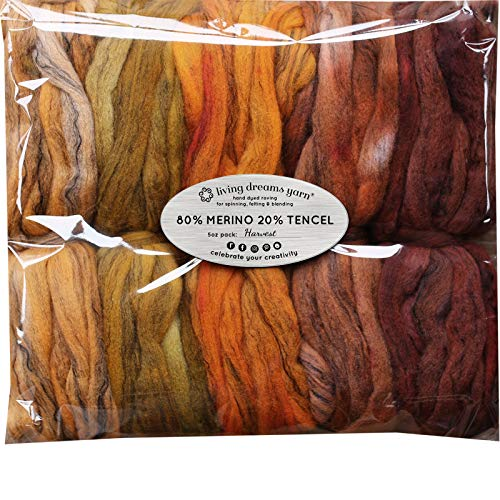 Hand Dyed Merino Tencel Spinning Fiber. Super Soft Wool Top Roving drafted for Hand Spinning, Felting, Blending and Weaving. 5 Beautifully Colored Mini Skeins Discount Pack, Harvest