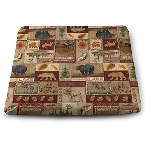 IEIKKD Rustic Lodge Bear Moose Deer Seat Cushion Pads Memory Foam Chair Pad Reversible Square Seat Cover Delicate ()