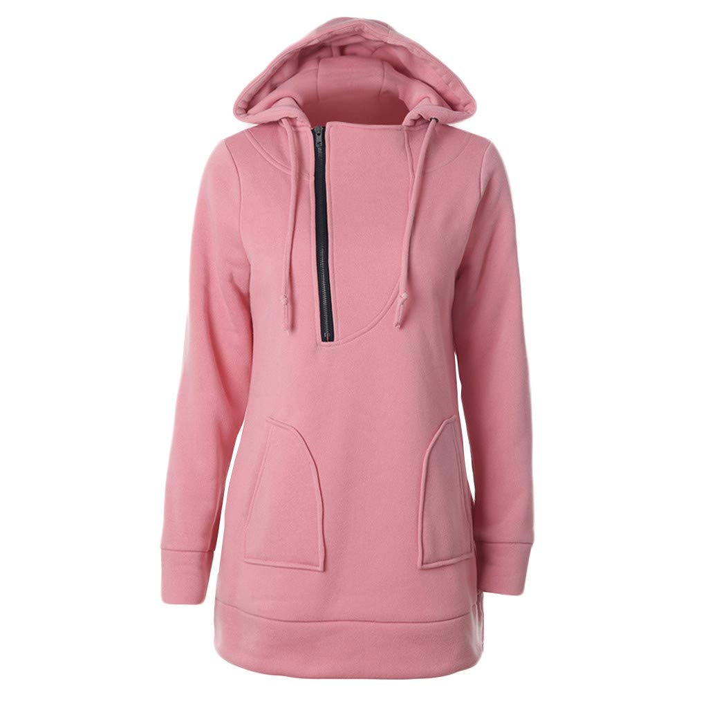 HENWERD Women's Solid Color Pocket Long Sleeve Hoodie Pullover Sweatshirt Long Tops (Pink,XXL)