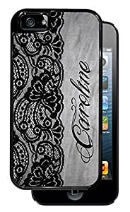 New Style Black Lace Monogram - Black iPhone 5, 5S Dual Protective Durable Case BRUSHED ALUMINUM