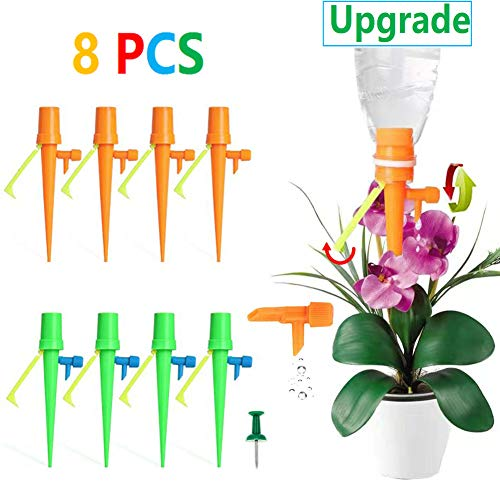 (YLINKM Plant Watering Devices, Plant Self Watering Irrigation Spikes System, Automatic Plant Waterer, Irrigation Drippers with Slow Release Control Valve Switch and Supporting Shelves)
