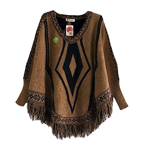 LOCOMO Tops (Luxury) - Poncho - para mujer FFJ062 Brown Diamond