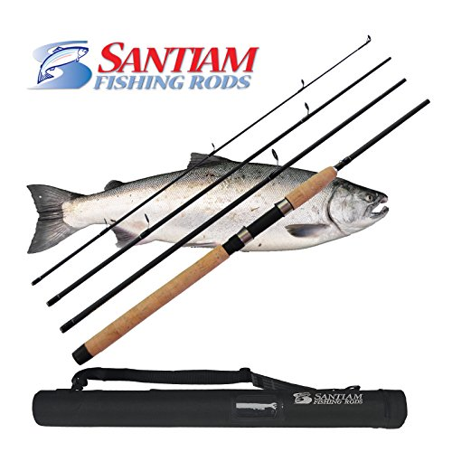Santiam Fishing Rods Travel Rod 4 Piece 8'6'' 10-20lb MF Graphite Spinning ()