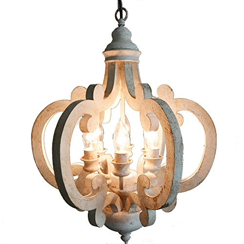 Benzara Beautiful Wood Metal Antique Chandelier White