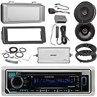 Kenwood Marine CD Bluetooth Radio, 2x Infinity 6522 Reference 6.5 Coaxial Speakers + Adapters, 4-Ch. Amplifier + Kit, Scosche Handlebar Control Module, Dash Kit, Weathershield, Antenna Kit