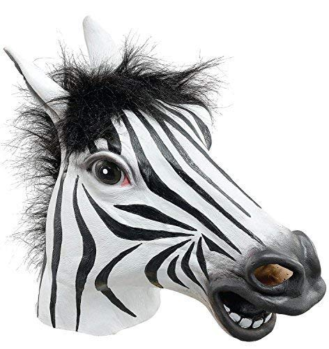 Adult Ladies Mens Black White Zebra Rubber Full Face Mask Zoo Animal Halloween Fancy Dress Costume Outfit Accessory -