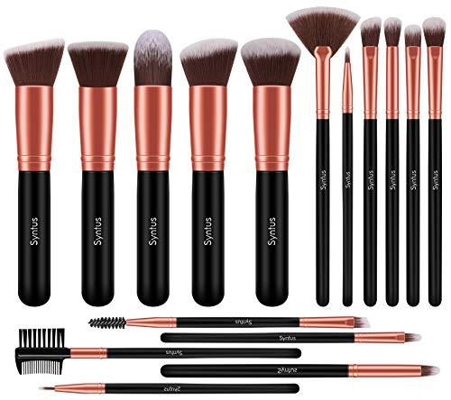 Syntus Makeup Brush Set, Premium Synthetic Foundation Powder Kabuki Blush Concealer Eye Shadow 16 Pcs Makeup Brushes…