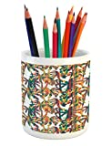 Lunarable Tropical Pencil Pen Holder, Artistic Colorful Design Palm Trees Summertime in the Hawaii Jungle Theme Leaves, Printed Ceramic Pencil Pen Holder for Desk Office Accessory, Multicolor