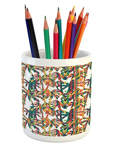 Lunarable Tropical Pencil Pen Holder, Artistic Colorful Design Palm Trees Summertime in the Hawaii Jungle Theme Leaves, Printed Ceramic Pencil Pen Holder for Desk Office Accessory, Multicolor by Lunarable