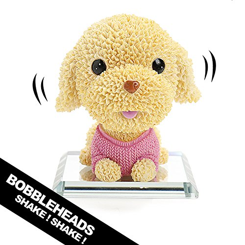 YGMONER Bobble Head Dog - Teddy Bear Poodle Doll Car Dashboard Decorations (Pink)