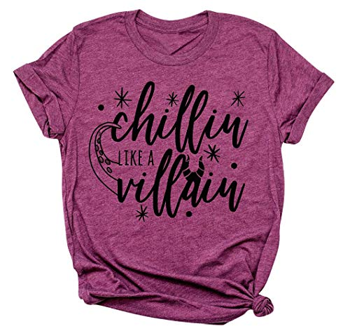 Chillin Like a Villain Shirt Women Maleficent Shirt Letters Print Short Sleeve Holiday Halloween Tee ()