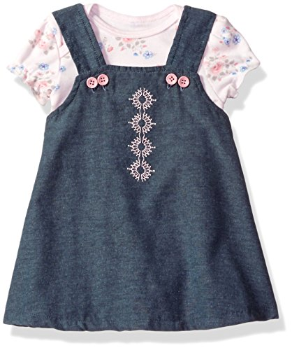 Rene Rofe Baby Baby Girls' 2 Pc Chambray Button Strap Jumper Set with Bodysuit, Chambray Pink Patchwork Garden, 6-9 (Girls Chambray Jumper)
