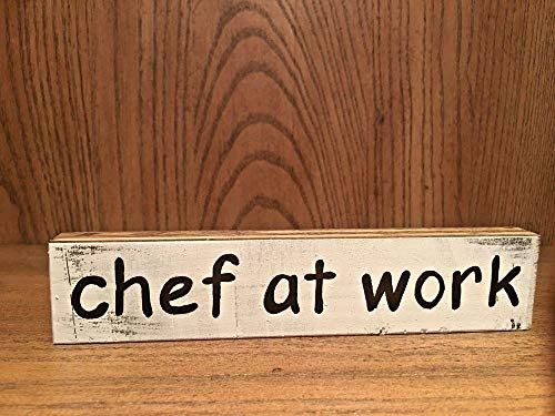 PotteLove Rustic Wood Sign Chef at Work Home Decor Kitchen, Cook, Baker Sign ()
