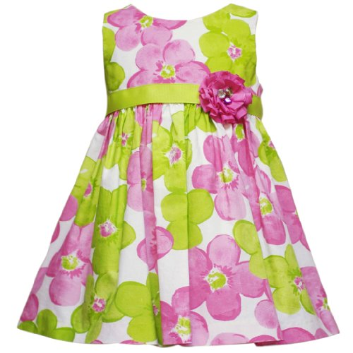 Rare Editions Baby/INFANT 12M-24M 2-Piece FUCHSIA-PINK LIME-GREEN BOLD FLORAL PRINT Special Occasion Flower Girl Easter Party Dress