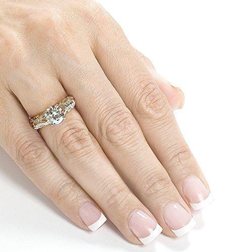Forever classique & Diamant Bague de Fiançailles en Or 911/6ND Outlet Bague en or 14K Deux Tons _ 4.0