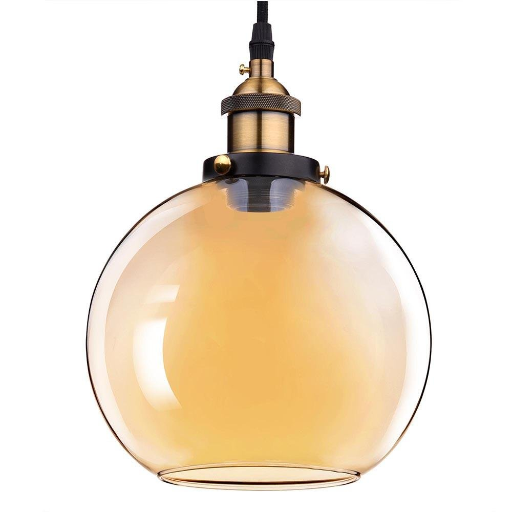 7.9'' Vintage Industrial Classic Amber Glass Pendant Light Ball Shade For Kitchen Living Room Home Restaurant Spa Hotel Coffee Shop Bar