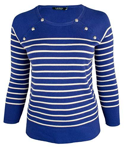 LAUREN RALPH LAUREN Plus Size Striped Crew Neck Raglan Sweater (3X, Blue) ()