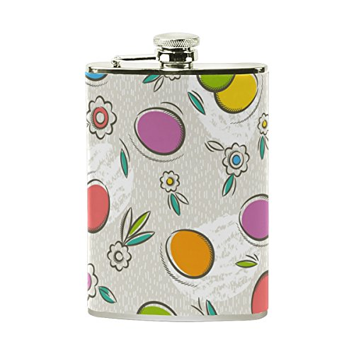 AHOMY Easter Eggs Flowers Leaves Stainless Steel Hip Flask 8 OZ Leak Proof Liquor Flask with PU Leather Wrapped - Bottles Liquor Egg Easter