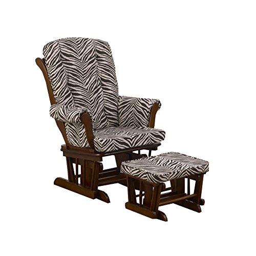 (Cotton Tale Designs Sumba Glider Print on Espresso with Ottoman, Small Zebra)