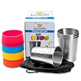 Stainless Steel Cups Kids and Toddlers 8 oz - Metal Drinking Glasses 4-Pack, Children Pint Tumblers for Camping & Travel, BPA Free Tin Cups, Multipurpose cups smoothie milk juice water