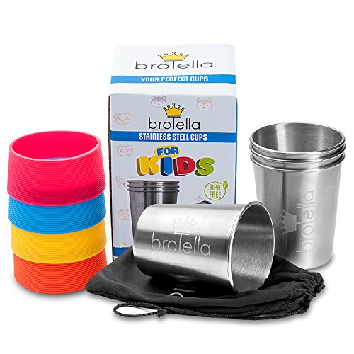 Stainless Steel Cups Kids and Toddlers 8 oz - Metal Drinking Glasses 4-Pack, Children Pint Tumblers for Camping & Travel, BPA Free Tin Cups, Multipurpose cups smoothie milk juice water by Brotella