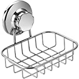 SANNO Vacuum Suction Soap Dish Holder, Bar Soap Sponge Holder for Shower, Bathroom, Tub and Kitchen Sink - Rust Proof Stainless Steel