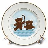 3dRose Janna Salak Designs Kids Stuff - Twin Teddy Bears Floating Umbrella - 8 inch Porcelain Plate (cp_261567_1)