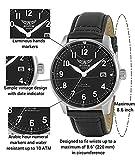 AVIATOR AVW6073G312 F-Series Mens Vintage Flight Pilot Simple Date Quartz Watch Black Leather Strap Wristwatch