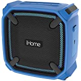 iHome Weather Tough Portable Rechargeable Bluetooth Speaker with Speakerphone and LED Accent Lighting (Mini-Blue)