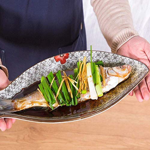 ChenDZ Japanese-style fish-shaped plate home creative ceramic dish (Size : M)