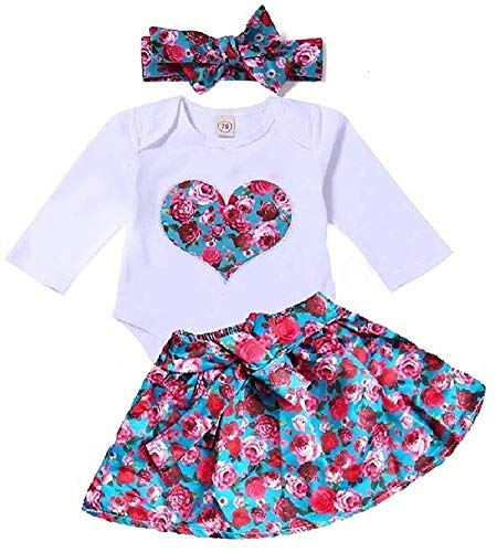 Baby Girls Floral Pant Set Newborn Baby Romper Long Sleeve Valentine's Day Heart Print Jumpsuit with Headband (Label 70/Age3-6 M, Romper+Skirt)