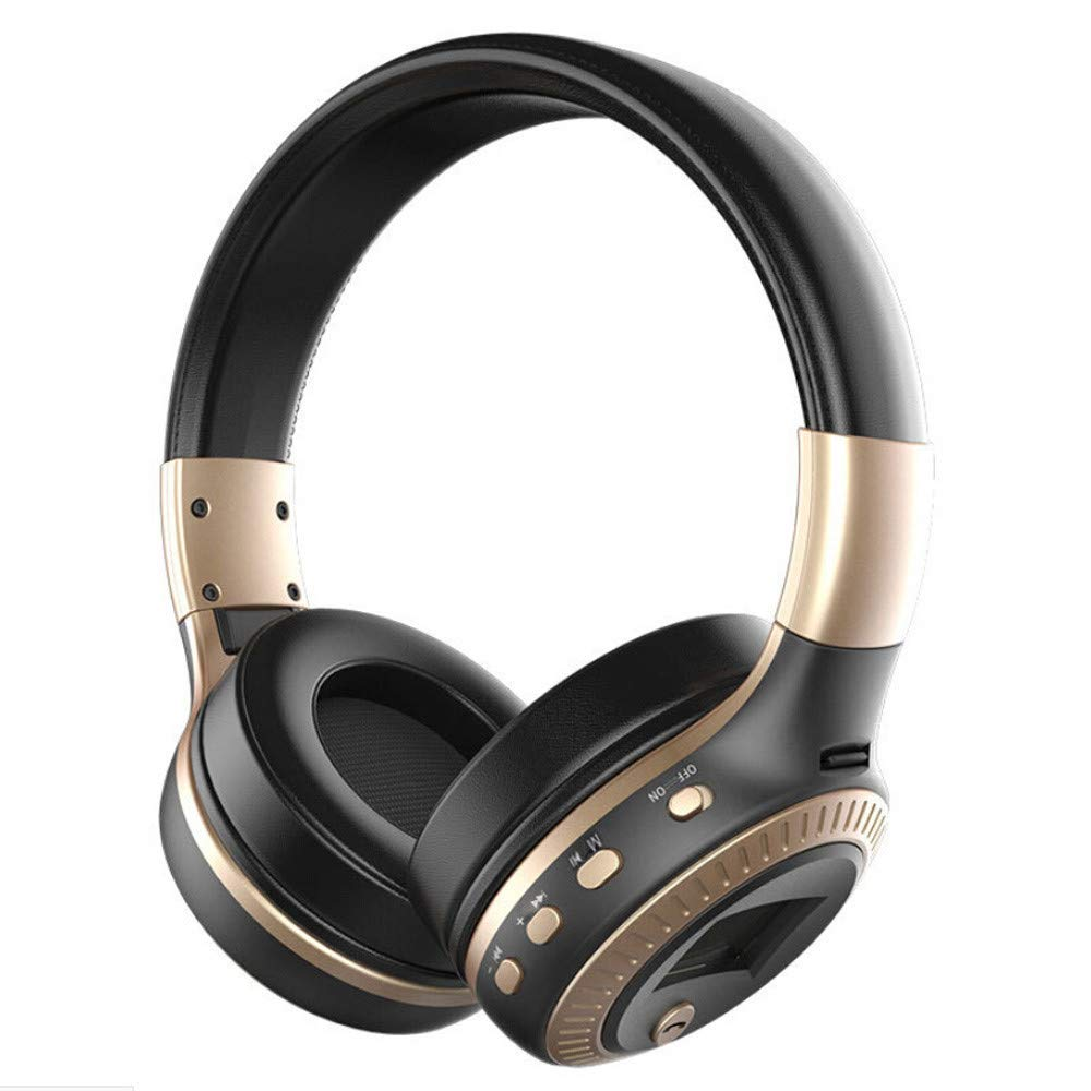 Wireless Bluetooth Headphones with Noise Cancelling Over-Ear Stereo Earphones LCD Display HiFi Bass Headphone Foldable Wireless Stereo Bluetooth Headset for Cellphone PC Laptop with Mic Support FM Radio Micro-SD Card Slot 3.5MM Stereo Bass Surround Noise I