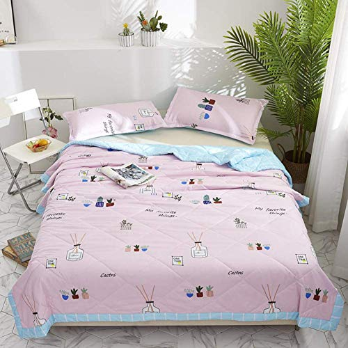Smibra Comfortable Summer Quilt Soft Bed Couch Elegance Pattern Thin Quilt for Sleeping and Snuggling Best Gift for Kids/Babies/Adults-002(W78 x L90 Inch, Pink)
