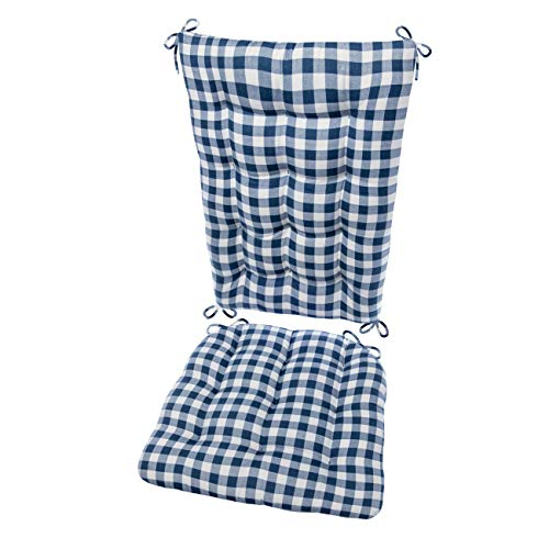 Barnett Products Classic Check Navy Rocking Chair Cushion Set - Size Extra-Large - Latex Foam Filled Seat Pad and Back Rest, Reversible (Blue/White Plaid)
