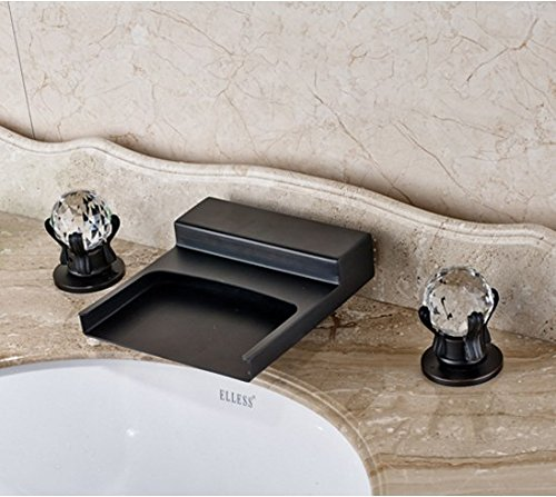 Gowe Widespread 3pcs Waterfall Spout Bathroom Sink Faucet Double Crystal Handles Oil Rubbed Bronze 0