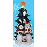 Homebrite Christmas Tree and Snowmen Scene LED Lights Polyresin Figurine 18.5'' inch