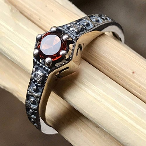 Natural Pyrope Garnet 925 Solid Sterling Silver Victorian Filigree Ring sz ()
