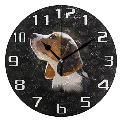 WXLIFE Beagle Puppy Dog Breed Round Acrylic Wall Clock, Silent Non Ticking Art Painting for Kids Bedroom Living Room Office School Home -