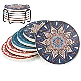 Drink Coasters Mats - Moisture Absorbing Stone Coasters with Cork Base, Holder Include, Prevent Furniture from Dirty and Scratched, Stone Coasters set Suitable for Kinds of Mugs and Cups, Set of 6
