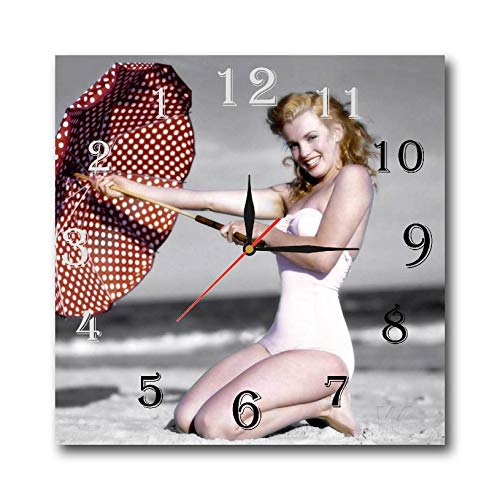 mV Marilyn Monroe 11.4'' Handmade Reverse Wall Clock - Get Unique décor for Home or Office - Best Gift Ideas for Kids, Friends, Parents and Your Soul Mates