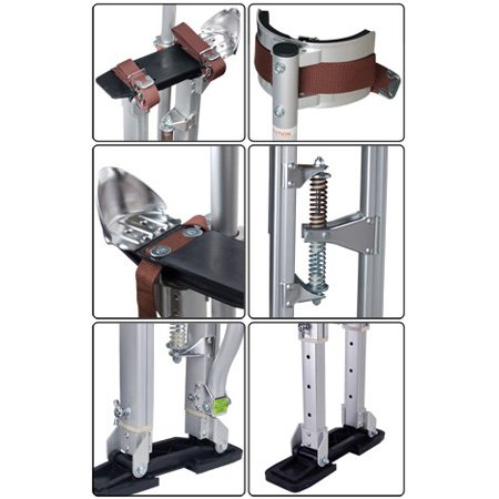 GC Global Direct Aluminum Drywall Stilts Adjusts 24'' to 40'' (Silver)