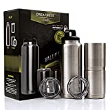 Greatness Line Set of 36 oz Bottle + Two 10 oz Lowball Stainless Steel Tumbler with Lids - Vacuum Insulated - Craft Beer Set - Camping, Outdoors, Beach, Fishing, Hunting Drinkware